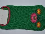 Stopki dziecięce ze wzorem ludowym, z łowickimi kwiatami, zielony, rozm. 26-28