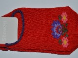Stopki dziecięce ze wzorem ludowym, z łowickimi kwiatami, czerwony, rozm. 26-28