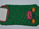 Stopki dziecięce ze wzorem ludowym, z łowickimi kwiatami, zielony, rozm. 29-31