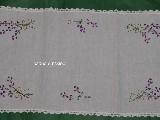 Tablerunner, hand made, theme bouquet of lavender 74x40 cm