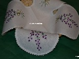 Hand embroidered tablemat to the basket, lavender