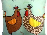 Poduszka dekoracyjna folk - Kura domowa - 20x20 cm