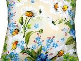 Poduszka dekoracyjna folk - Niezapominajki i rumianki (272) - 20x20 cm