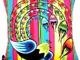 Poduszka dekoracyjna folk - Ptak (275) - 20x20 cm