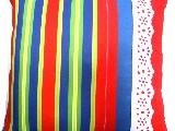 Poduszka dekoracyjna folk - Pasiak z koronką (276) - 50x50 cm
