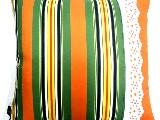 Poduszka dekoracyjna folk - Pasiak z koronką (277) - 50x50 cm