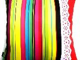 Poduszka dekoracyjna folk - Pasiak z koronką (278) - 20x20 cm