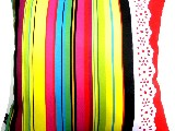Poduszka dekoracyjna folk - Pasiak z koronką (278) - 50x50 cm