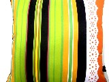 Poduszka dekoracyjna folk - Pasiak z koronką (279) - 20x20 cm