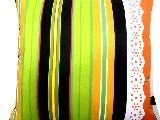Poduszka dekoracyjna folk - Pasiak z koronką (279) - 40x40 cm