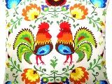 Poduszka dekoracyjna folk - Koguty (286) - 50x50 cm