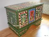 Regional dowry box in hand-painted Zawiślecka eco paints (120x72x88)