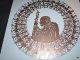 Gwiazda kurpiowska z papieżem św. Janem Pawłem II, kolor złoty, śred. 34 cm, kolor czerwony (wb-3)