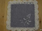 Serwetki ręcznie haftowane wzór kujawski, szaro-niebieskie - kpl.  (kz-1)