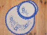Haft kujawski - serwetki ręcznie haftowane - komplet 6+1 (kz-9)