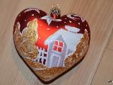 Bombka w kształcie serca ręcznie malowana, 8 cm (1)