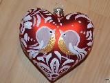 Bombka w kształcie serca ręcznie malowana, wys. 8 cm (2)