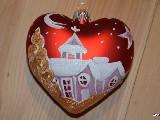 Bombka w kształcie serca ręcznie malowana, wys. 8 cm (4)