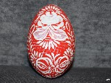 Red Easter egg - goose egg, Kuyavian pattern, hand-painted