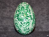 White and green Easter egg - goose egg, Kuyavian pattern, hand-painted
