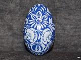 Blue Easter egg - goose egg, Kuyavian pattern, hand-painted