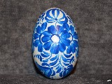 White-blue Easter egg - goose egg, Kuyavian pattern, hand-painted