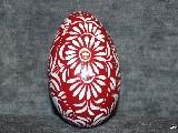 Burgundy Easter egg - goose egg, Kuyavian pattern, hand-painted