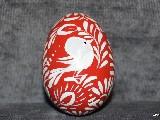 Pisanka z ptaszkiem,czerwona  jajo kurze, wzór kujawski, ręcznie malowana