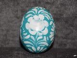 Blue-green Easter egg - chicken egg, Kuyavian pattern, hand-painted
