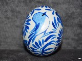 Easter egg with bird and butterfly - chicken egg, Kuyavian pattern, hand-painted