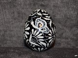 Black Easter egg with butterfly - chicken egg, Kuyavian pattern, hand-painted