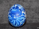 White and blue Easter egg - chicken egg, Kuyavian pattern, hand-painted.