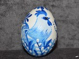White-blue Easter egg with chicken - chicken egg, Kuyavian pattern, hand-painted