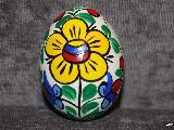 Pisanka kolorowa, jajo kurze, wzór kujawski, ręcznie malowana
