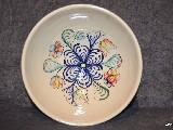 Ceramika bolimowska biała - misa o poj. 2 l ręcznie toczona i malowana