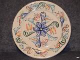 Ceramika bolimowska biała - talerz o śred. 26 cm, ręcznie toczony i malowany