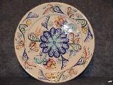 Ceramika bolimowska biała - talerz o śred. 27 cm, ręcznie toczony i malowany