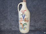 Ceramika bolimowska biała  - butelka na nalewkę, ręcznie toczona i malowana ok. 1 l (1)