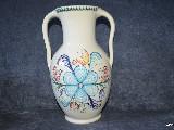Ceramika bolimowska biała- amfora ok. 3 l, wys. 30 cm, ręcznie toczony i malowany